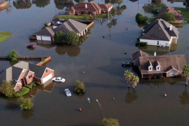 Flood waters caused by Tropical Storm Harvey in Texas.