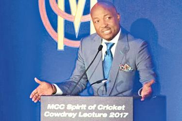 Brian Lara delivering Spirit of Cricket Cowdrey lecture at Lord's