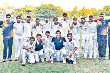 Royal College under 15 division two cricket team is seen here  with their officials after emerging All Island Champions for the year 2017   (Picture by Dilwin Menids, Moratuwa Special Sports Correspondent)