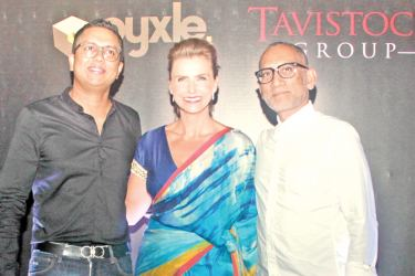 Presantha Jayamaha,Director and Founder of Pyxle, with Hayley Evans, General Manager for Tavistock and  Shehan Dissanayake, Board Member and Senior Managing Director for the Tavistock Group at the event. Picture by Saliya Rupasinghe
