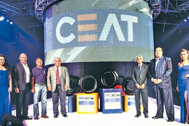 CEAT Kelani Managing Director Vijay Gambhire, Vice President Sales, Marketing & Exports Ravi Dadlani (second left and second right respectively) with Wasantha Perera of U&H Wheel Services Pvt Ltd., Eraj Fernando, Director CEAT Kelani Holdings Pvt Ltd. and S. Udayachander, Deputy General Manager Sales, at the launch of the CEAT Premium Range of radial tyres.