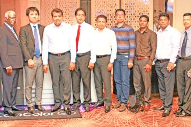 Chairmanship of  JDC Group, Jayantha Dharmadasa, Gen Kimoto from Riso Kagaky Corporation ,Udaya Hettiarachchi, Assistant General Manager – Product and Business Development of JDC Printing Technologies and officials at the launch.  Pictures by Mahinda Vitanachchi.