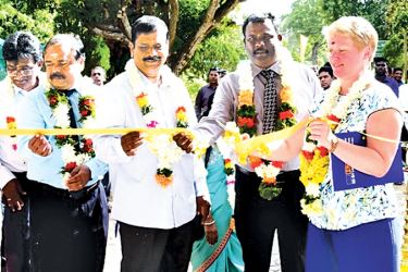 Head of Cooperation of the European Union Delegation to Sri Lanka and the Maldives Libuse Soukupova and Agriculture and Agrarian Services Provincial Minister K. Sivanesan opening the Government Seed Production Farm in Vavuniya.
