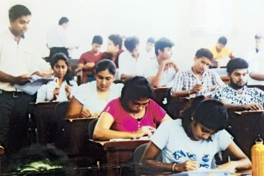 Applicants appearing for the test. Picture by Wehelle Piyathilaka, Maharagama Special Corr.