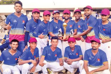 The champion Matara team which won the Twenty20 Deaf Cricket Tournament  by beating Colombo team.