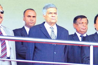 Prime Minister - Ranil Wickremesinghe (centre), Education Minister - Akila Viraj Kariyawasam (right)  and Education State Minister - V. Radhakrishnan (left) at the School Games opening ceremony. Picture by Saliya Rupasinghe