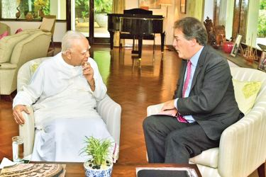 Opposition Leader and Tamil National Alliance Leader R. Sampanthan meeting UK Minister of State for Asia and Pacific Mark Field at Westminster House in Colombo.