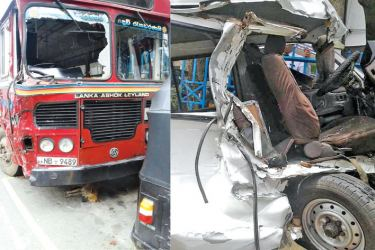 The van and bus involved in the accident. Picture by G. A. GUNASENA, Ginigathena Special Corr.