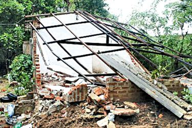 A demolished illegal construction near Nuwarawewa. Picture by Nimal Wijesinghe