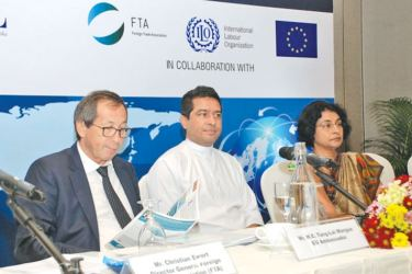 Tun Lai Margue, Ambassador of the European Union to Sri Lanka,  Sujeewa Senasinghe, State Minister of International Trade and  Sonali Wijeratne, Director General of Commerce, Department of Commerce, at the event.