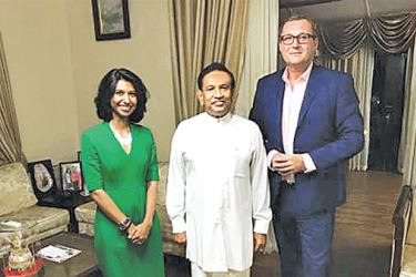 Health ​Minister Dr. Rajitha Senarathne with ​the Chairman and Senior Partner for the Global Health Practice, K.P.M.G. Marl Britnell and Universal Health Care  Specialist, Centre for Universal Health Coverage KPMG in the UK, Adrita Bhattacharya-Craven.