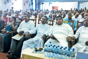 Department of Pensions Director General A. Jagath D. Dias, Uva Province Governor M. P. Jayasinge and other officials during the ceremony. Picture by THENNAKOON BANDARA, Moneragala Daily News Corr.