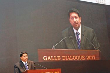State Defence Minister Ruwan Wijewardene delivering the key note address at the 8th Galle Dialogue hosted by Sri Lanka Navy yesterday. Picture by Roshan Pitipana
