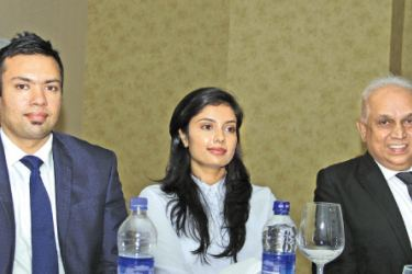 Managing Director, Chanuka Wijekoon, Director Finance & Administration, Hansanie Wijekoon and General Manager Roshan Fernando of Golden Crown at the press briefing yesterday.  Picture by  Saliya Rupasinghe