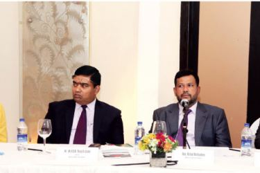 Counsellor of the Regional Trade Agreements division of WTO Jo-Ann Crawford, Secretary of the Ministry of Industry and Commerce K.D.N. Ranjith Ashoka, Minister of Industry and Commerce Rishad Bathiudeen and Chief of the Regional Trade Agreements Division of WTO Rohini Acharya at the RTA session