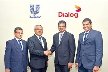Avi De Silva, Head of Tea Division, Unilever Sri Lanka; Carl Cruz, Chairman, Unilever Sri Lanka; Supun Weerasinghe, Group Chief Executive, Dialog Axiata PLC and Charitha Ratwatte, Head - Group Sustainability, Dialog Axiata.