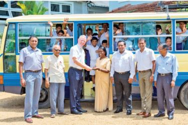 Serendib Flour Mills CEO Kevin O Leary handing over the Bus to the Centre for the Education of Hearing Impaired Children (CEHIC) in Kelaniya.