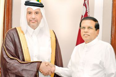 Qatari Economy and Commerce Minister Sheikh Ahmed bin Jassim Mohamed Al Thani who was on a visit to Sri Lanka to participate at the second session of Qatar-Sri Lanka Joint Committee for Economic and Technical Cooperation in Colombo called on President Maithripala Sirisena at the Presidential Secretariat. Picture by President's Media Unit