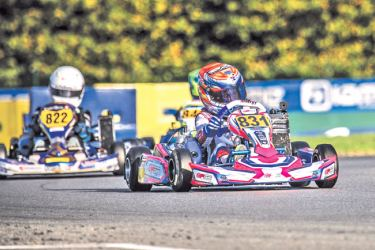 Yevan David (831) competing in the IAME invited Mini drivers (8-12 years) finals in France
