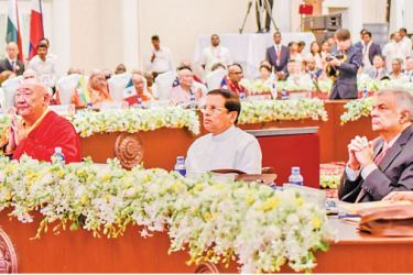 President Maithripala Sirisena, Prime Minister Ranil Wickremesinghe, Minister Gamini Jayawickrama Perera and the participants at the conference. Picture by Sudath Silva