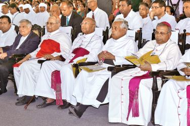 Prime Minister Ranil Wickremesinghe with Archbishop of Colombo His Eminence Malcolm Cardinal Ranjith at the ceremony to celebrate Catholic Teachers' Day and the 25th anniversary of the Catholic Teachers' Association at St Joseph's College, Colombo 10. Emeritus Archbishop of Colombo Oswald Gomis, National Director of Catholic Schools Fr. Ivan Perera, Auxiliary Bishops Maxwell Silva and Emmanuel Fernando are also in the picture. Pictures courtesy Prime Minister's Media