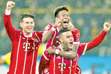 Bayern Munich players celebrating their victory