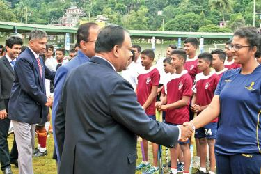 The chief guest of the opening ceremony, E.P.T.K.Ekanayake, Director of Education, Central province being introduced to the teams by the organizers. Upananda Jayasundera-Kandy Sports Spl.Corrs.