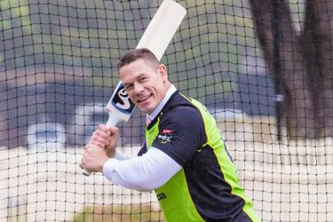 John Cena taking up a different challenge from wrestler to cricketer.