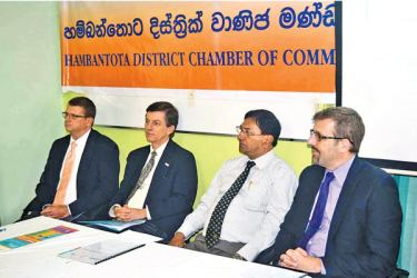 Brian Wittnebel, Deputy Director, Office of Economic Growth, USAID, Dr. Andrew Sisson, Mission Director, USAID Sri Lanka and the Maldives,  D.W.  Anura Upul, President, Hambantota District Chamber of Commerce, and Charles Conconi, Project Director, USAID - YouLead!