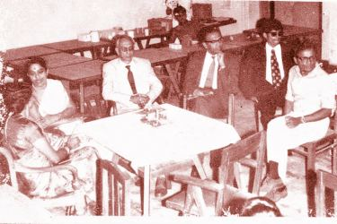 King George Hall, University of Ceylon, Colombo Campus. Lawnite 72 – Annual Social of the Law Faculty Students Union. Date:  July 1972. Left to Right:  Mrs. Nadaraja, Mrs. P. Kularatnam (University Staff Librarian), Prof. T. Nadaraja ( Dean, Faculty of Law, University of Ceylon), Professor B.A. Abeywickrema( Vice – Chancellor, University of Ceylon, Colombo), Senaka Weeraratna (President, Law Faculty Students' Union), and Dr. M. Sornarajah (Senior Lecturer, Faculty of Law)