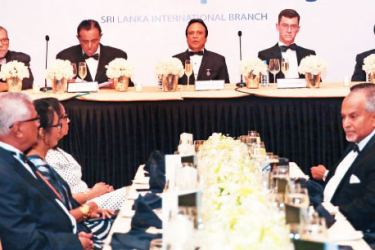 Head table presided by Tourism Minister John Amaratunga and Chairman, Institute of Hospitality Sri Lanka Branch, Thusith Samarawickrema