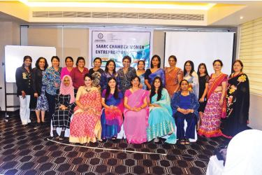Aminath Vileeniya - Maldives, Selima Ahmad - Bangladesh, Rifa Musthapha - SCWEC Chairperson, Rita Bhandary - Nepal, Anuja Narain - India, Chathuri Ranasinghe - SCWEC Vice Chairperson - Sri Lanka, together with WCIC Board members and other Executive Committee members of SCWEC