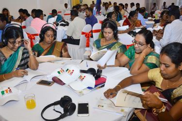 Information officers in the Northern Province at the Vavuniya programme.  Picture by Sudath Malaweera