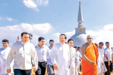 President Maithripala Sirisena at the Nelligala International Buddhist Institute. Picture by President's Media.