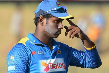A despondent Angelo Mathews after Sri Lanka had lost the ODI series 2-3 to Zimbabwe in July last year.