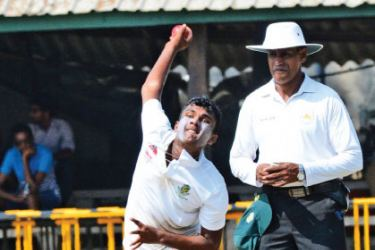 Skipper of St Sebastian's College Tharusha Fernando who took five Josephian wickets in their schools cricket match which ended in a draw at Darley Road yesterday. Pic by Sarath Peiris