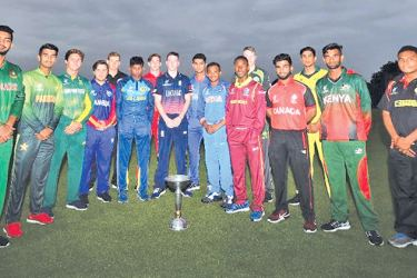 Captains from all 16 participating teams at the ICC U19 CWC pose for a pre-tournament snap.