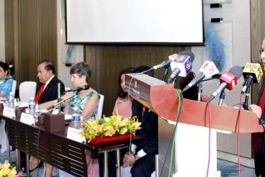 Minister Bathiudeen's statement delivered by Additional Secretary M. A. Thajudeen to a conference of United Nations, European Union, and Sri Lankan government representatives at the Shangri-La Hotel. Picture by Roshan Pitipana