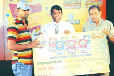 Ada Kotipathi to T.M.N.S. Thennekoon. Super ball lucky November  winner I.G.N. Rathnayaka.