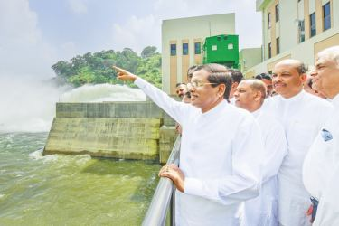 President Maithripala Sirisena and Prime Minister Ranil Wickremesinghe commissioned the giant Moragahakanda Reservoir on Monday. Picture by Sudath Silva