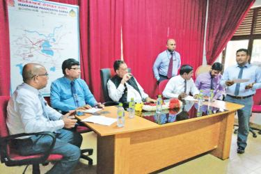 EP Governor Rohitha Bogollagama and other officials at the meeting.