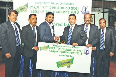 Nadina Fernando (Centre Left), Marketing Manager for Elephant House Beverages handing over the sponsorship to MCA President Roshan Iddamalgoda (Centre Right). Looking on is P.K. Abeygunasekera, Asst. Manager Technical for Ceylon Cold Stores PLC, Nalin Wickremasinghe, General Secretary of the MCA, Rohan Somawansa, Executive Committee Member and Sponsorship Committee Member of the MCA, and Sujeewa de Silva, Chairman of the Tournament Committee of the MCA.