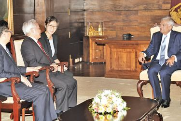 Vice-Chairman of the Chinese People's Political Consultative Conference Wang Qinmin  called on Prime Minister Ranil Wickremesinghe at Temple Trees yesterday. Deputy Director General of Asian Affairs Department of Chinese Foreign Ministry Mao Ning, Chinese  Ambassador in Colombo Cheng Xueyuan  and Third Secretary Zhang Song were present.