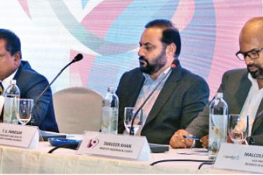 At the media conference held at JAIC Hilton Hotel (from left): Laleendra Brahamana (Director - Hero/Abans), Joshey John (Global Sales Head of ITW), Jerome Jayaratne (Chief Operating Officer of SLC), Thilanga Sumathipala (President of SLC), T.S. Panesar (Head of Dsports (Discovery) Channel Business), Tanveer Khan (Head of Programmes and Events/Channel 9), Malcolm Thorpe (VP Sports Development & Events of Lagardère Sports). Picture by Ruwan de Silva
