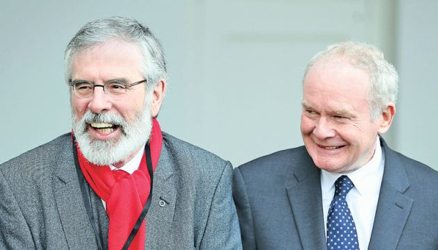 (File Photo): Northern Ireland's former deputy First Minister and one-time IRA commander Martin McGuinness (R) with Sinn Féin leader Gerry Adams.