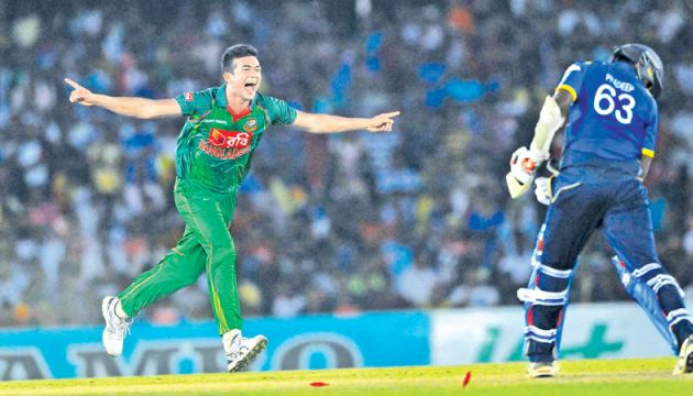 Bangladesh fast bowler Taskin Ahmed performs the hat-trick by yorking Sri Lanka's last man Nuwan Pradeep for a duck.