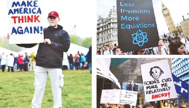 Protesters hold placards and banners as they participate in the 'March for Science rally on Earth Day in Washington (left), London (top right) and Sydney on Satuday. - Agencies