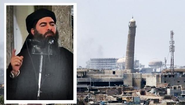The ancient leaning minaret of Mosul called 'Al-Habda' towers in this general view of Mosul's Old City on June 18, 2017.(INSET) Islamic State leader Abu Bakr al-Baghdadi who proclaimed himself 'caliph' in June 2014. AFP
