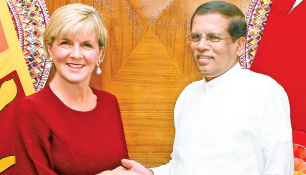 Australian Foreign Affairs Minister Julie Bishop called on President Maithripala Sirisena at the President's Residence in Colombo yesterday.
