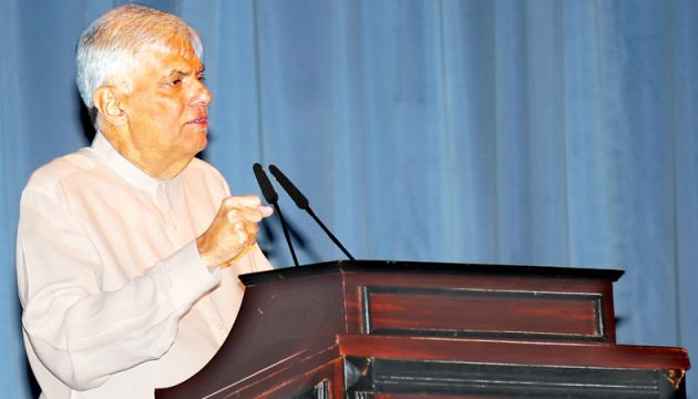 Prime Minister Ranil Wickremesinghe  addressing the gathering.